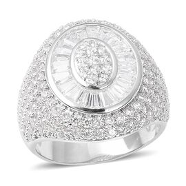 Simulated Diamond (Bgt) Cluster Ring (Size L) in Silver Plated