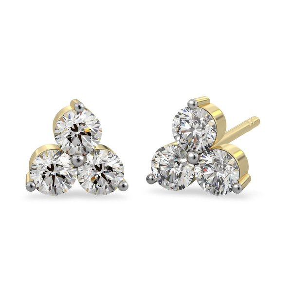 9K Yellow Gold SGL Certified Diamond (Rnd) (I3/G-H) Stud Earrings (with Push Back) 0.25 Ct.
