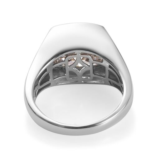 TJC Launch- J Francis Mens Ring- Platinum Overlay Sterling Silver (Cush) Solitaire Ring Made with SWAROVSKI ZIRCONIA 14.80 Ct.
