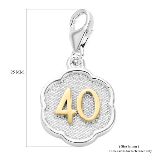 40 Birthday Anniversary Charm in Platinum and Yellow Gold Overlay Sterling Silver