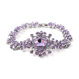 Simulated Amethyst and Purple Austrian Crystal Victorian Design Bracelet in Silver Tone 7.5 Inch