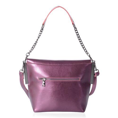 Sencillez 100% Genuine Leather  Metallic Purple Shoulder Bag with External Zipper Pocket and Removable Shoulder Strap (Size 29x21x10x21 Cm)