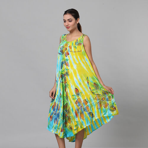 Tie & Dye Blue and Yellow Umbrella Dress in Floral Pattern (Size upto 18)  Length - 120cm/47in