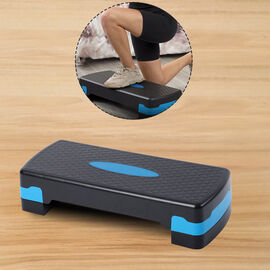 2 Level Aerobic Step (Size 68.5x28x10/15cm) - Black & Blue
