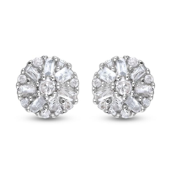 MP Diamond Cluster Earrings (with Push Back) in Platinum Overlay Sterling Silver 0.150 Ct