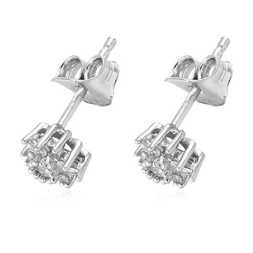 Diamond (Rnd) Floral Stud Earrings (with Push Back) in Platinum Overlay Sterling Silver