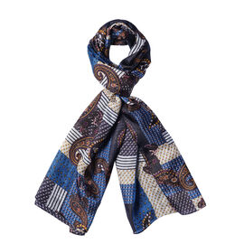 DOD - LA MAREY 100% Mulberry Silk Paisley and Quilted Pattern Scarf - Black and Blue