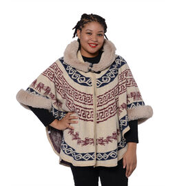 Half Round Shape Multi-Patterned Blanket Wrap with Faux Fur Collar (One size, L: 75cm) - Beige
