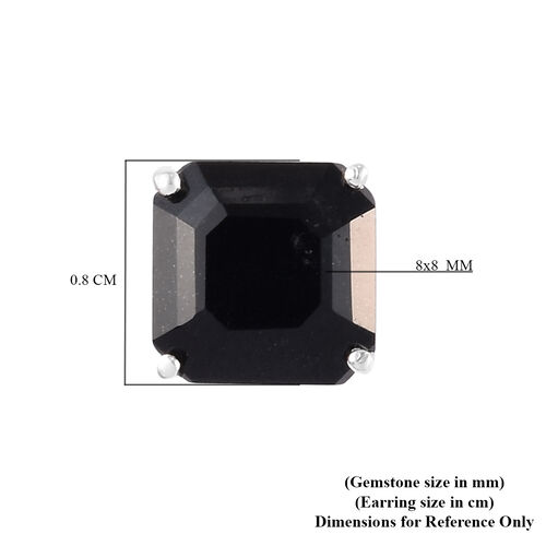 Black Tourmaline (Asscher) Stud Earrings (with Push Back) in Sterling Silver 4.50 Ct.