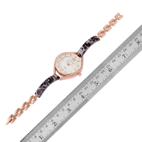 STRADA - Black and White MOSAIC Japanese Movement Rose Gold Tone Time Piece.