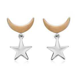 Platinum and Yellow Gold Overlay Sterling Silver Star Moon Earrings (with Push Back)