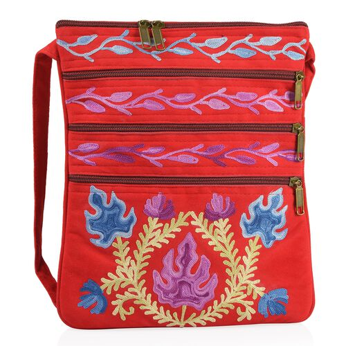 Red, Blue and Multi Colour Hand Embroidered Floral and Leaves Pattern Sling Bag with External Zipper Pocket (Size 26X22 Cm)