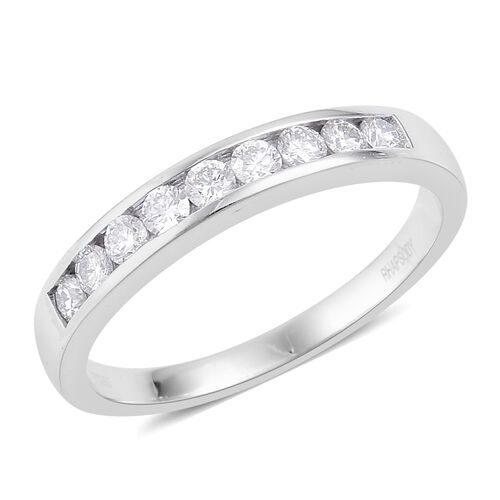 RHAPSODY 950 Platinum (5.45 Grms) IGI Certified Diamond (Rnd) (VS/E-F) Half Eternity Band Ring 0.500 Ct.