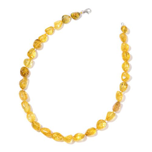 Yellow Austrian Crystal Necklace (Size 18) and Bracelet (Size 7.5) in Silver Tone