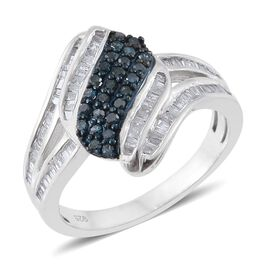 0.75 Ct Blue Diamond and White Diamond Cluster Ring in Platinum Plated Sterling Silver 5 Grams