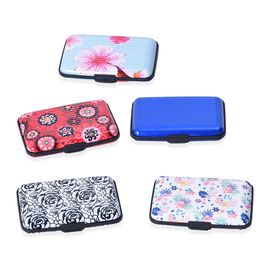 Set of 5 - Printed RFID Blocking Card Holder (Size 11x7x2 Cm) - Blue and Multi Colour