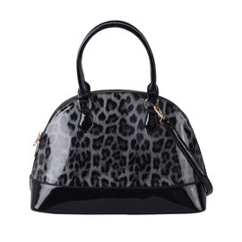 Grey Leopard Pattern Patent Satchel Bag with Adjustable Shoulder Strap (37x26x25cm)