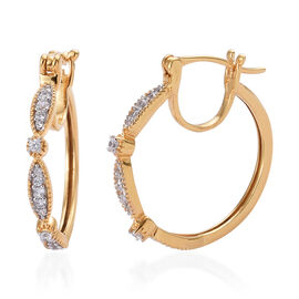 Natural Cambodian Zircon (Rnd) Hoop Earrings (with Clasp) in 14K Gold Overlay Sterling Silver 0.500