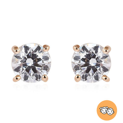 J Francis - 9K Yellow Gold Kids Stud Earrings (with Push Back) Made with SWAROVSKI ZIRCONIA 0.50 Ct.
