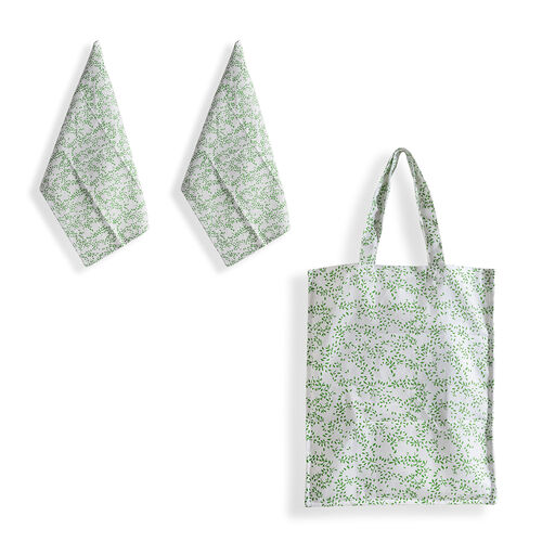 100% Cotton Green, White, Red and Multi Colour 1 Floral Design Bag (Size 40x35 Cm), 1 Leaves Design Bag (Size 40x35 Cm) and 2 Floral, 2 Leaves Design Kitchen Towels (Size 60x40 Cm)