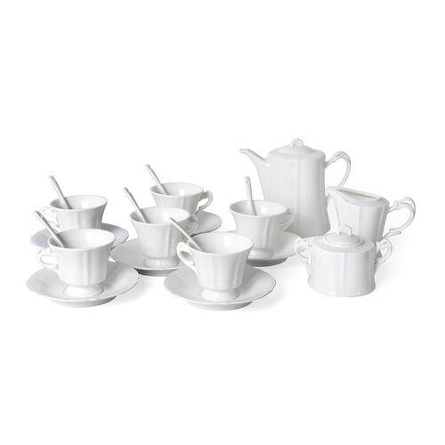 21 Piece Set - Embossed Tea Set (Consists of 6 Cups, 6 Saucers, 6 Spoons, 1 Sugar Jar, 1 Milk Jar, 1