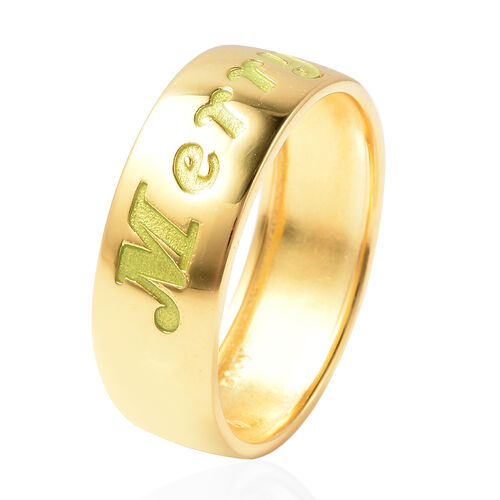 Night Glow Merry Christmas Band Ring in Yellow Gold Overlay Sterling Silver