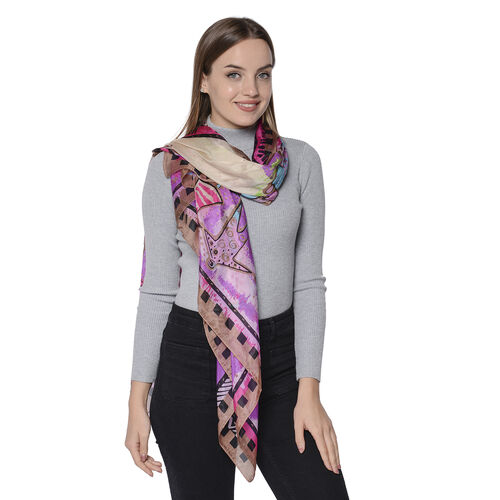 LA MAREY New Collection - 100% Mulberry Silk Colourful Figures Patterned Scarf (Size 180x110cm) - Purple
