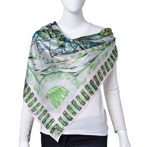 Blue, Green and Multi Colour Floral Pattern Square Shape Scarf (Size 110X110 Cm)