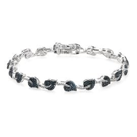 GP Blue and White Diamond and Blue Sapphire Leaf Bracelet (Size 7.5) in Platinum and Blue Overlay St