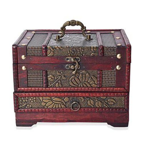 Antique Copper Floral Embossed 3 Layer Jewellery Box with Inside Mirror, Top Removable Tray and a Pu
