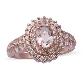 Marropino Morganite and Natural Cambodian Zircon Ring in Rose Gold Overlay Sterling Silver 1.83 Ct.