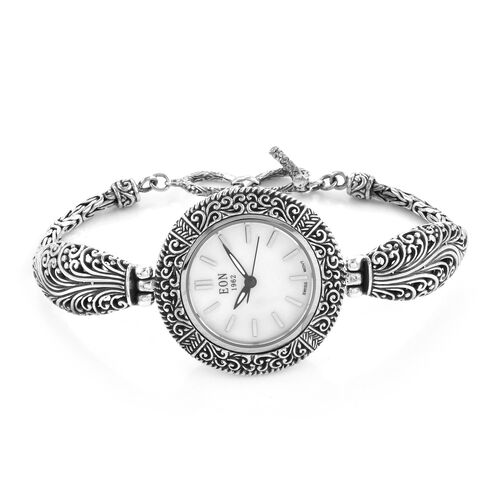 Super Auction- Royal Bali Collection EON 1962 Swiss Movement Sterling Silver Water Resistant Watch (Size 7.75 with Extender) with Mother of Pearl Dial, Silver wt 19.00 Gms