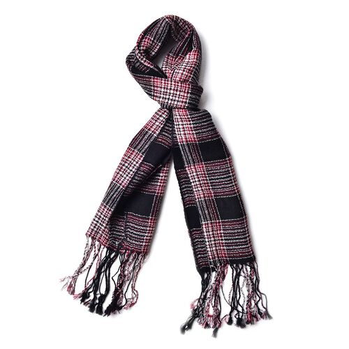 100% Wool Black, Red and Multi Colour Checks Pattern Scarf with Tassels (Size 160X40 Cm)