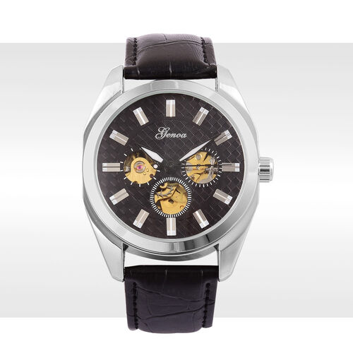 GENOA Automatic Skeleton Black Dial Watch in Silver Tone with Stainless Steel and Glass Back