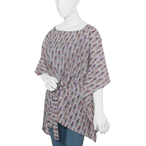 Designer Inspired- Limited Available- 100% Modal - Off White and Multi Colour Lipstick Pattern Top/Kaftan (Size 65 Cm)