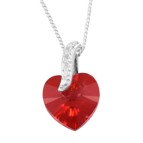 J Francis Crystal from Swarovski - Light Siam Colour Crystal (Hrt) Pendant with Chain and Earrings (with Push Back) in Sterling Silver