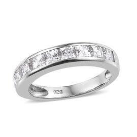 J Francis -Platinum Overlay Sterling Silver (Sqr) Half Eternity Ring (Size O) Made With SWAROVSKI ZIRCONIA