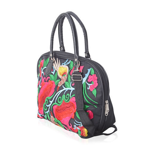 Black and Multi Colour Floral and Bird Embroidery Pattern Tote Bag with Adjustable and Removable Shoulder Strap (Size 42x29x14x28.5 Cm)