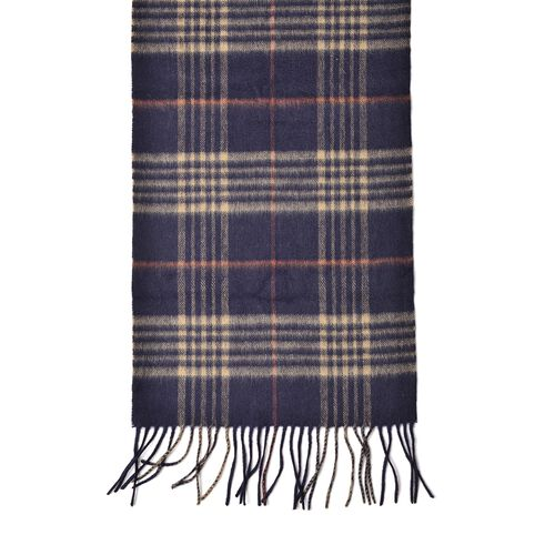 100% Wool Navy, Khaki and Orange Colour Checker Pattern Scarf with Tassels (Size 190X30 Cm)