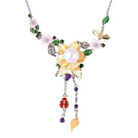 Jardin Collection - Yellow and Pink Mother of Pearl, Freshwater Pearl and Multi Gemstone Enameled Ne