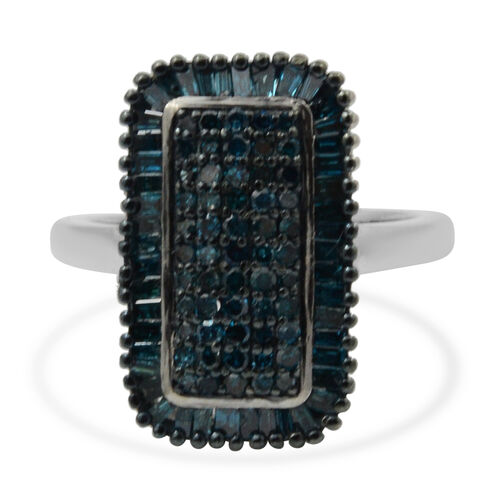 1 Ct Blue Diamond Cluster Ring in Platinum and Blue Plated Sterling Silver