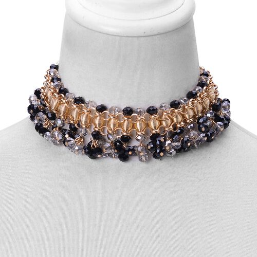 Simulated Black Spinel and Simulated Grey Moonstone Choker Necklace (Size 13 with 6 inch Extender) in Yellow Gold Tone