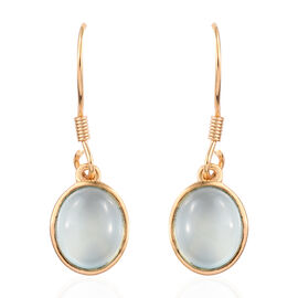 Aqua Chalcedony (Ovl) Hook Earrings in 14K Gold Overlay Sterling Silver 5.250 Ct.