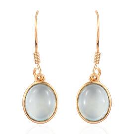 Aqua Chalcedony (Ovl) Hook Earrings in 14K Gold Overlay Sterling Silver 5.250 Ct.