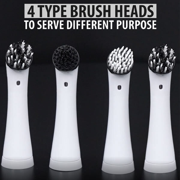 4 in 1 Sonic Scrubber Automatic Brush Cleaner (Battery AAx4 not incl.)  (Size:26x3.5Cm) - Black and White