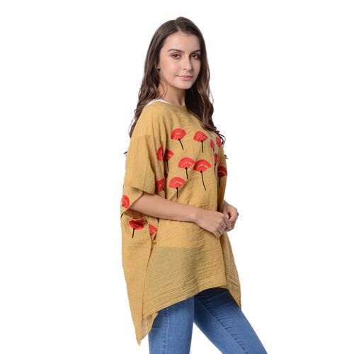 New Season Yellow Poncho with Red Tulips Embroidery (Size 88x72 Cm)