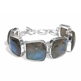 Artisan Crafted Labradorite Bracelet (Size 7.5) in Sterling Silver 111.260 Ct, Silver wt 15.35 Gms