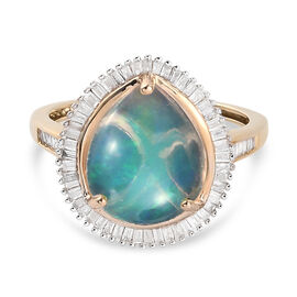 9K Yellow Gold Ethiopian Welo Opal and Diamond Ring 3.46 Ct.