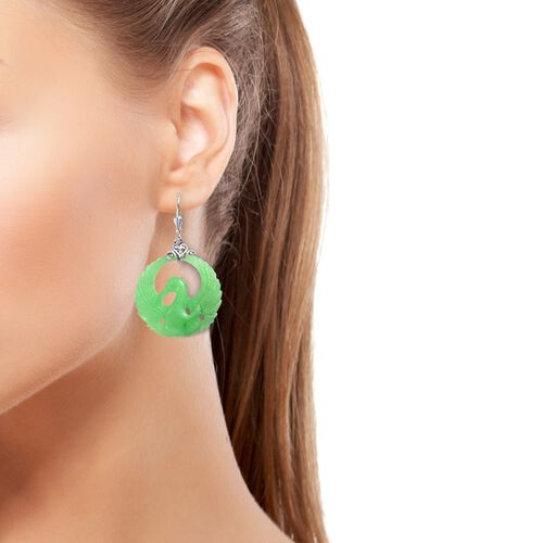 Carved Green Jade Lever Back Earrings in Platinum Overlay Sterling Silver 53.00 Ct.