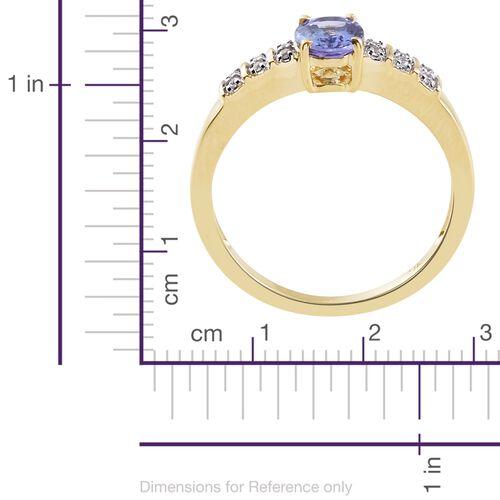 9K Yellow Gold AA Tanzanite (Ovl), Natural Cambodian Zircon Ring 1.100 Ct.